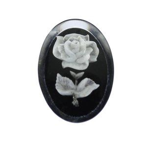 Reverse Carved White Rose Brooch
